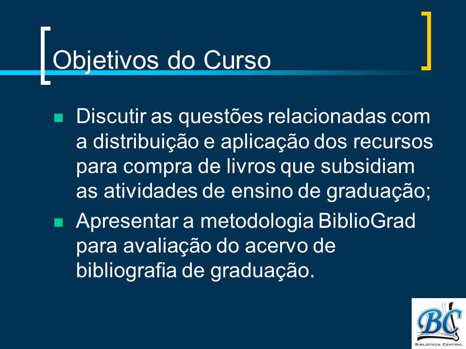 Objetivos do Curso Discutir as questões relacionadas com a distribuição e aplicação dos recursos para compra de livros que subsidiam as atividades de