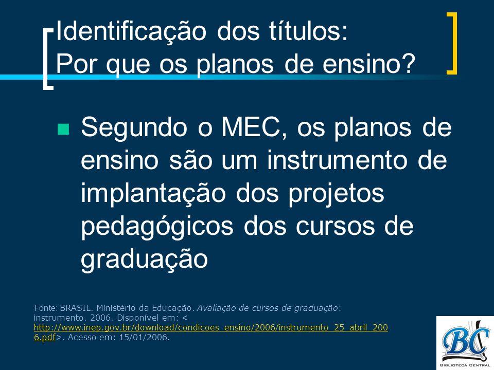 Identificação dos títulos: Por que os planos de ensino? Segundo o MEC, os planos de ensino são um instrumento de implantação dos projetos pedagógicos