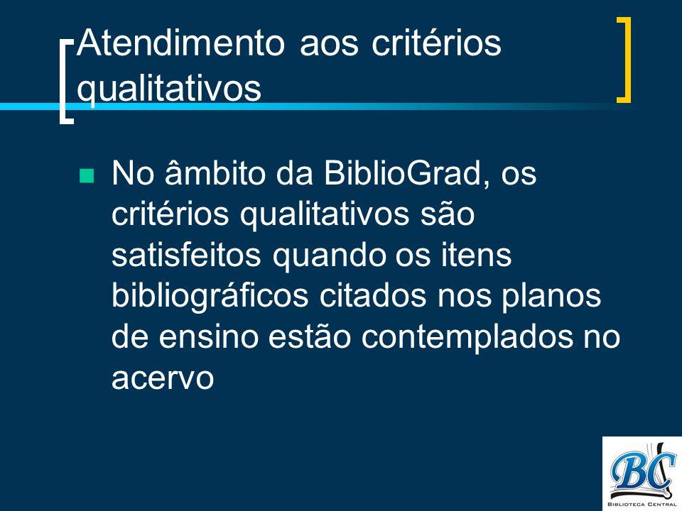 Atendimento aos critérios qualitativos No âmbito da BiblioGrad, os critérios qualitativos são satisfeitos quando os itens bibliográficos citados nos planos de ensino estão contemplados no acervo