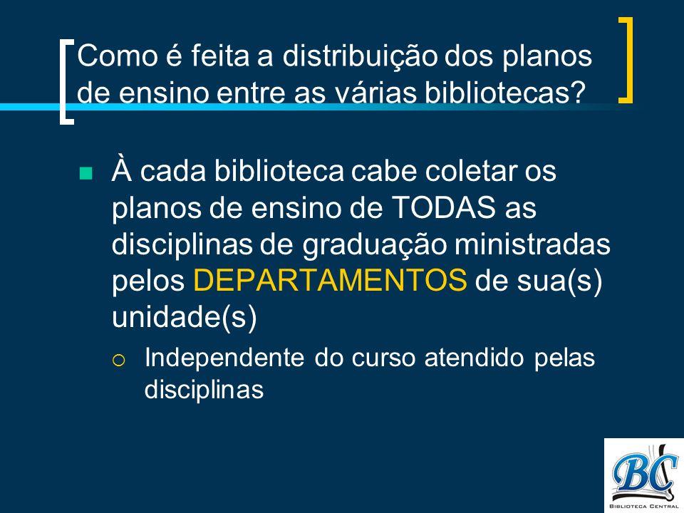 Como é feita a distribuição dos planos de ensino entre as várias bibliotecas.
