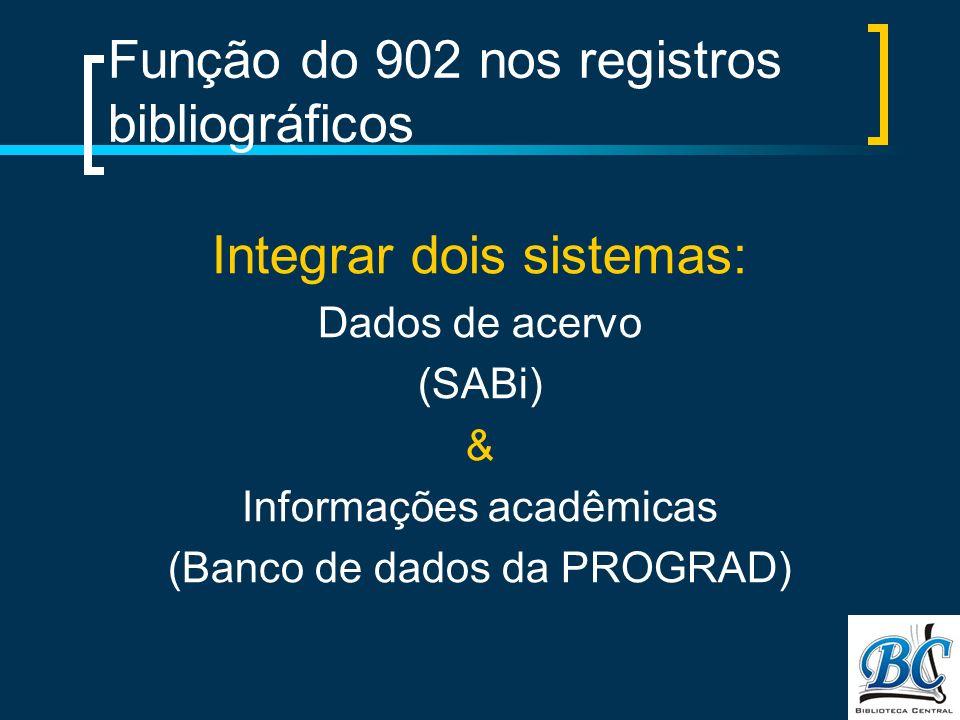 Função do 902 nos registros bibliográficos Integrar dois sistemas: Dados de acervo (SABi) & Informações acadêmicas (Banco de dados da PROGRAD)