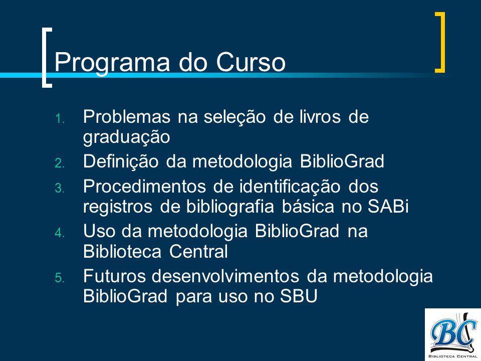 Programa do Curso 1. Problemas na seleção de livros de graduação 2. Definição da metodologia BiblioGrad 3. Procedimentos de identificação dos registro
