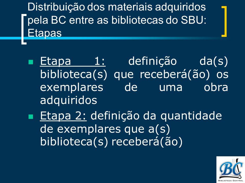 Distribuição dos materiais adquiridos pela BC entre as bibliotecas do SBU: Etapas Etapa 1: definição da(s) biblioteca(s) que receberá(ão) os exemplares de uma obra adquiridos Etapa 2: definição da quantidade de exemplares que a(s) biblioteca(s) receberá(ão)