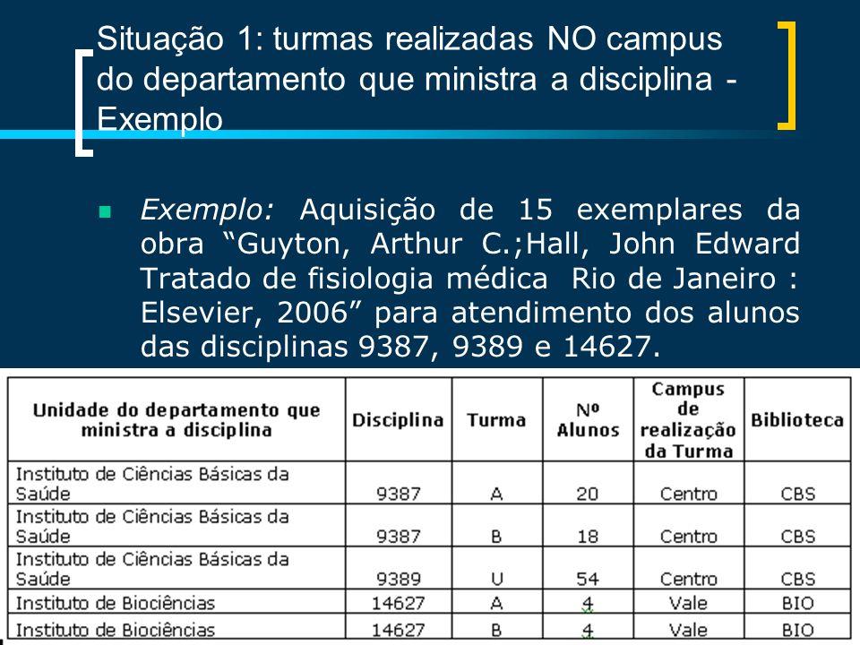 Situação 1: turmas realizadas NO campus do departamento que ministra a disciplina - Exemplo Exemplo: Aquisição de 15 exemplares da obra Guyton, Arthur