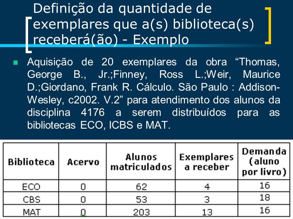 Definição da quantidade de exemplares que a(s) biblioteca(s) receberá(ão) - Exemplo Aquisição de 20 exemplares da obra Thomas, George B., Jr.;Finney,