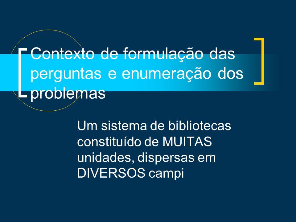 Contexto de formulação das perguntas e enumeração dos problemas Um sistema de bibliotecas constituído de MUITAS unidades, dispersas em DIVERSOS campi