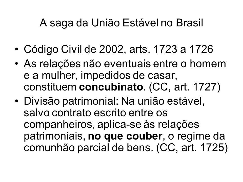 A saga da União Estável no Brasil Código Civil de 2002, arts. 1723 a 1726 As relações não eventuais entre o homem e a mulher, impedidos de casar, cons