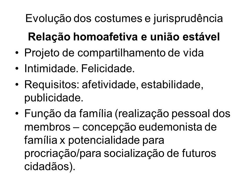Evolução dos costumes e jurisprudência Relação homoafetiva e união estável Projeto de compartilhamento de vida Intimidade. Felicidade. Requisitos: afe
