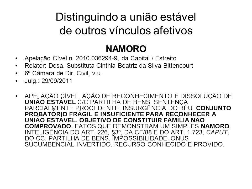 Distinguindo a união estável de outros vínculos afetivos NAMORO Apelação Cível n. 2010.036294-9, da Capital / Estreito Relator: Desa. Substituta Cinth