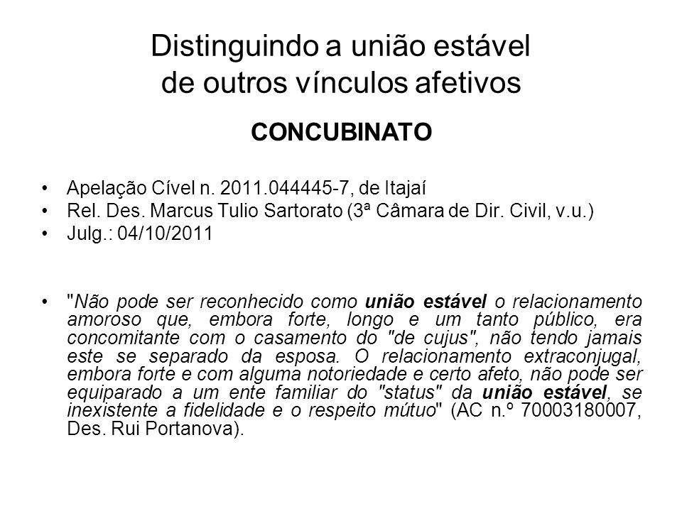 Distinguindo a união estável de outros vínculos afetivos CONCUBINATO Apelação Cível n. 2011.044445-7, de Itajaí Rel. Des. Marcus Tulio Sartorato (3ª C