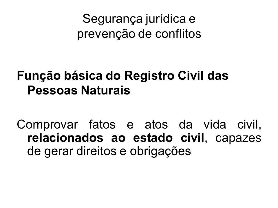 Segurança jurídica e prevenção de conflitos Função básica do Registro Civil das Pessoas Naturais Comprovar fatos e atos da vida civil, relacionados ao