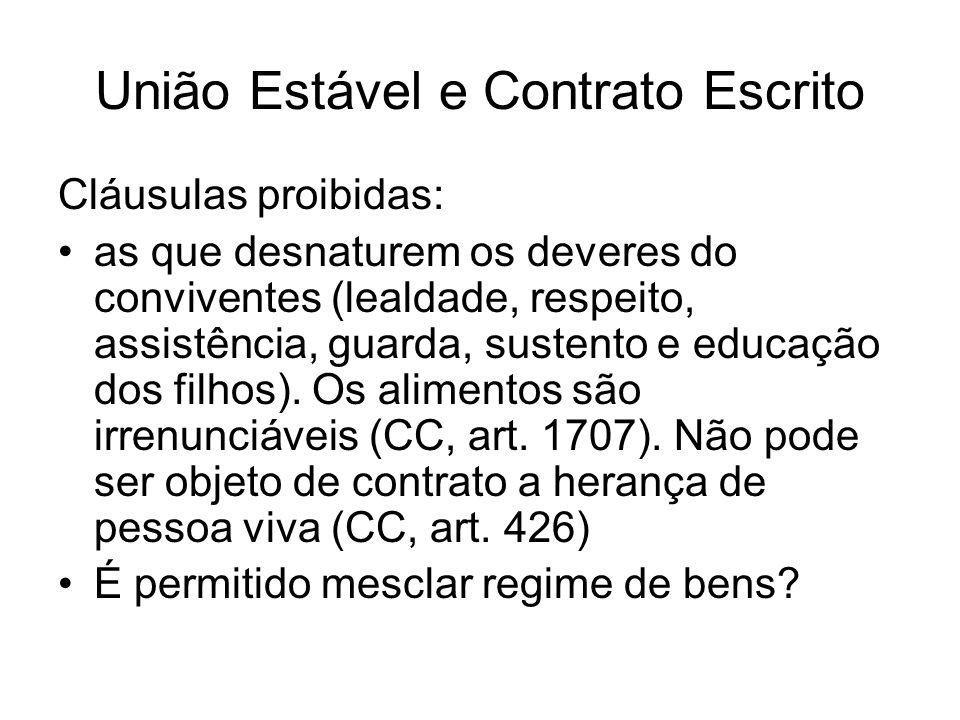 União Estável e Contrato Escrito Cláusulas proibidas: as que desnaturem os deveres do conviventes (lealdade, respeito, assistência, guarda, sustento e