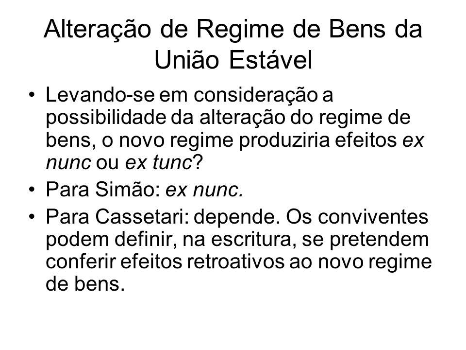 Alteração de Regime de Bens da União Estável Levando-se em consideração a possibilidade da alteração do regime de bens, o novo regime produziria efeit