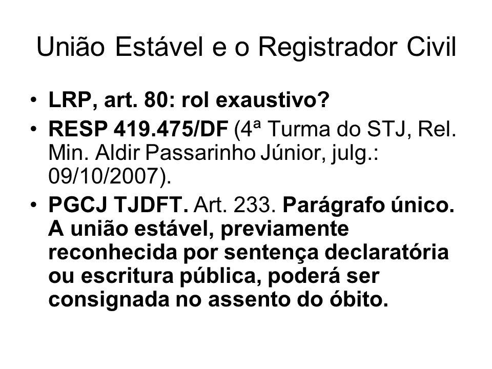 União Estável e o Registrador Civil LRP, art. 80: rol exaustivo? RESP 419.475/DF (4ª Turma do STJ, Rel. Min. Aldir Passarinho Júnior, julg.: 09/10/200