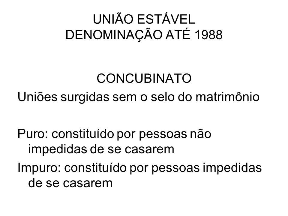 UNIÃO ESTÁVEL DENOMINAÇÃO ATÉ 1988 CONCUBINATO Uniões surgidas sem o selo do matrimônio Puro: constituído por pessoas não impedidas de se casarem Impu