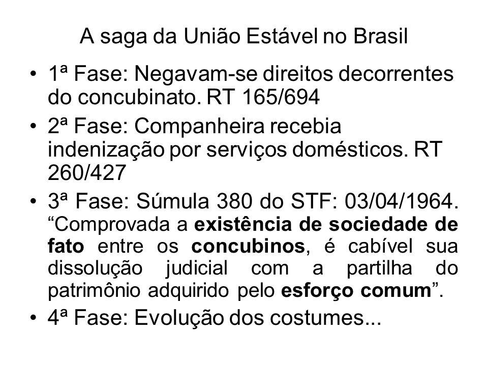 A saga da União Estável no Brasil 1ª Fase: Negavam-se direitos decorrentes do concubinato. RT 165/694 2ª Fase: Companheira recebia indenização por ser