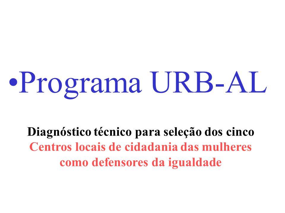 Programa URB-AL Diagnóstico técnico para seleção dos cinco Centros locais de cidadania das mulheres como defensores da igualdade