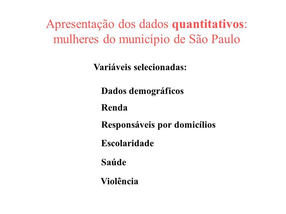 Apresentação dos dados quantitativos: mulheres do município de São Paulo Dados demográficos Responsáveis por domicílios Renda Escolaridade Saúde Variá
