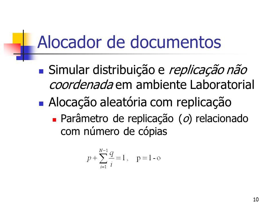 9 Encaminhador de Interrogações Cliente Remoto Selector de BDs Engenho Fusão Sumários das BDs Cache Cliente BD1 Cliente BD2 Cliente BDk Cliente BDm I I1 I2 Ik R|Rc|Rs R R1 R2 Rk Rs Rc R Informação de sobreposição R1 R2 Rk