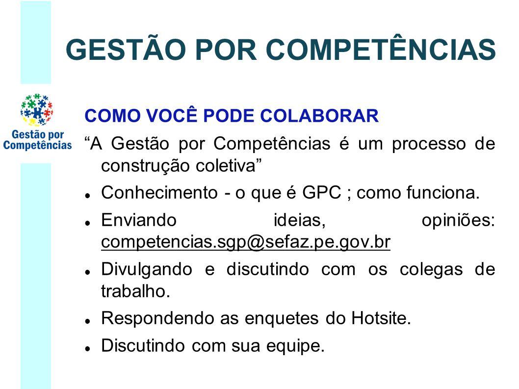 COMO VOCÊ PODE COLABORAR A Gestão por Competências é um processo de construção coletiva Conhecimento - o que é GPC ; como funciona.