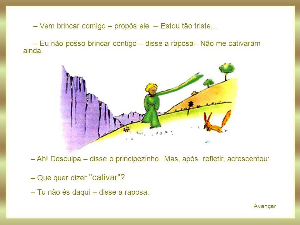Avançar Após um longo e sábio caminhar, o Pequeno Príncipe, dispôs-se a descansar... E foi então que apareceu a raposa: – Bom dia – disse a raposa. –