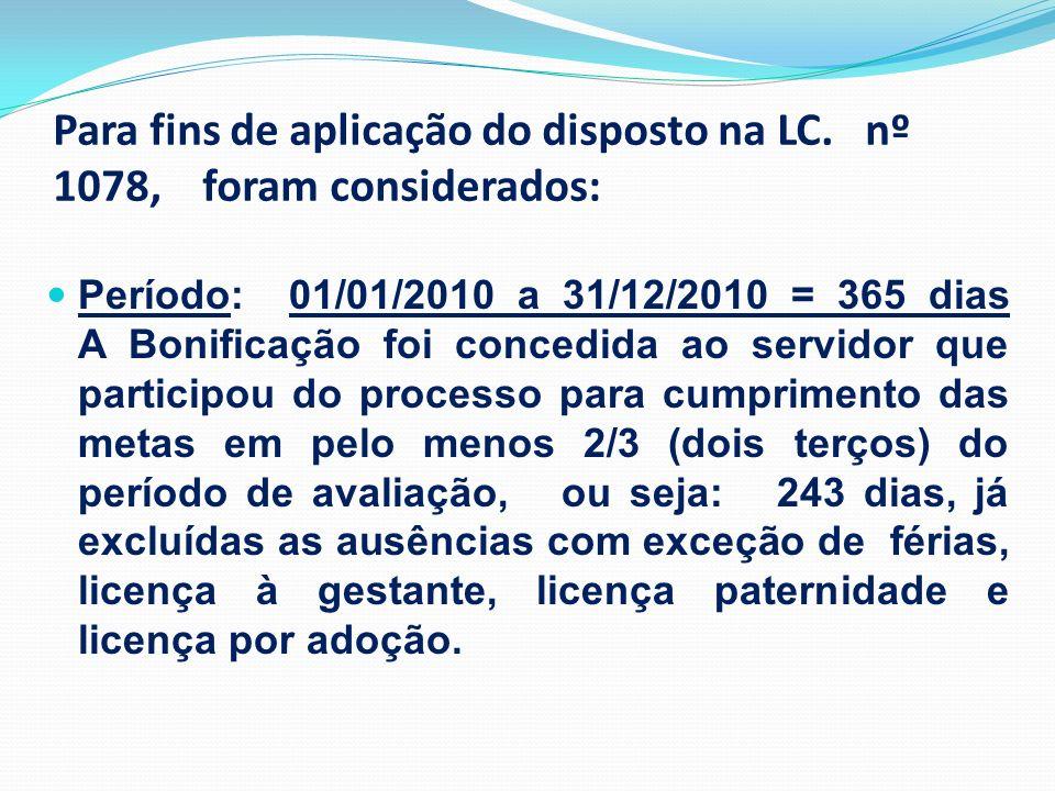 Para fins de aplicação do disposto na LC. nº 1078, foram considerados: Período: 01/01/2010 a 31/12/2010 = 365 dias A Bonificação foi concedida ao serv