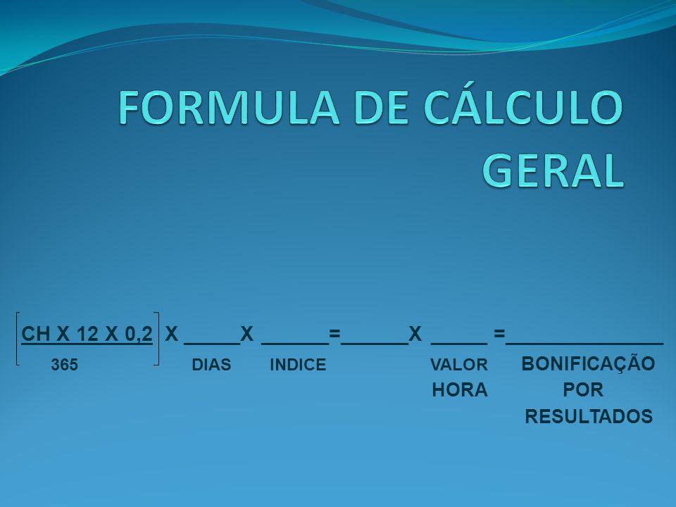 CH X 12 X 0,2 X _____X ______=______X _____ =______________ 365 DIAS INDICE VALOR BONIFICAÇÃO POR RESULTADOS HORA