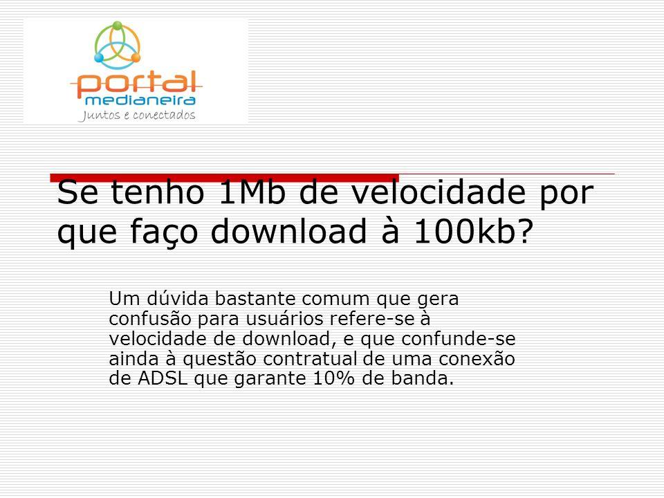 Se tenho 1Mb de velocidade por que faço download à 100kb.