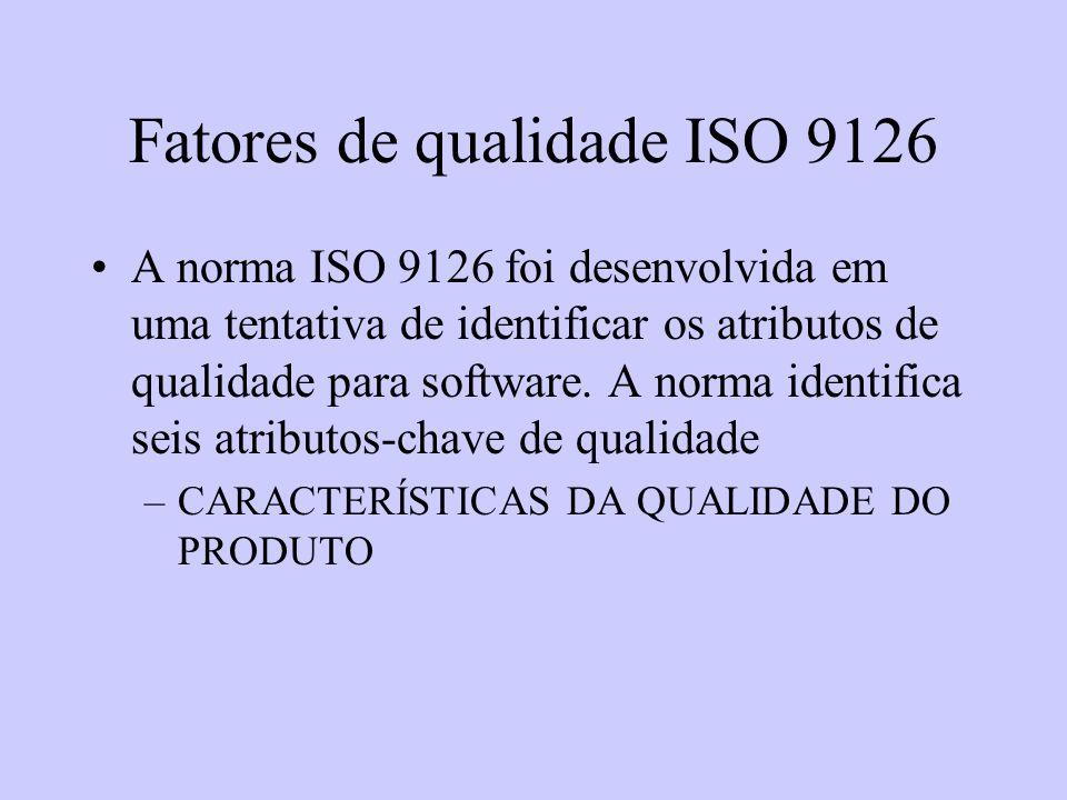 Fatores de qualidade ISO 9126 A norma ISO 9126 foi desenvolvida em uma tentativa de identificar os atributos de qualidade para software. A norma ident