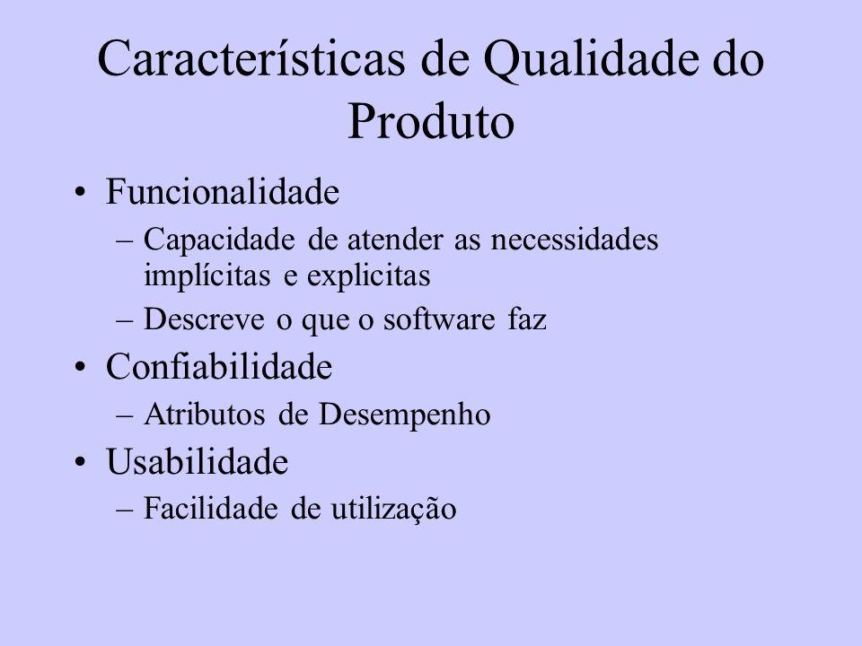 Características de Qualidade do Produto Funcionalidade –Capacidade de atender as necessidades implícitas e explicitas –Descreve o que o software faz C
