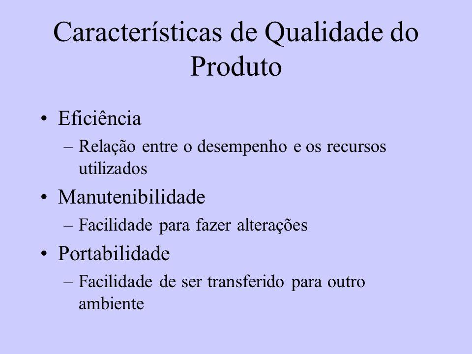 Características de Qualidade do Produto Eficiência –Relação entre o desempenho e os recursos utilizados Manutenibilidade –Facilidade para fazer altera