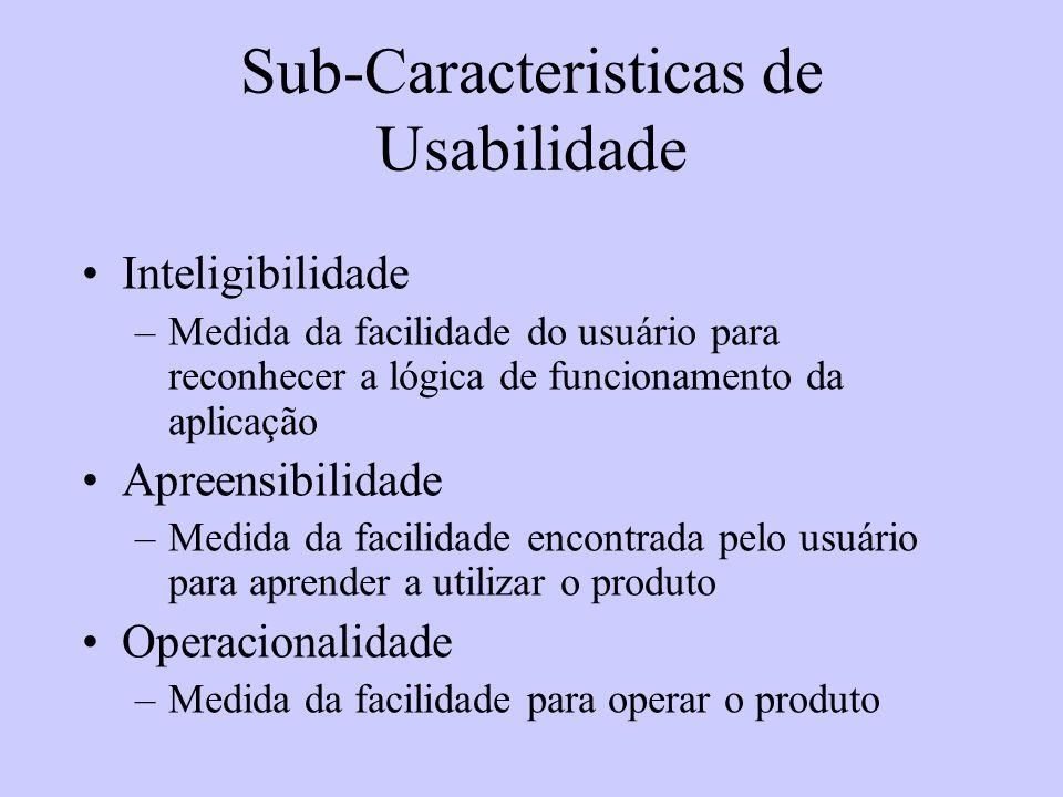 Sub-Caracteristicas de Usabilidade Inteligibilidade –Medida da facilidade do usuário para reconhecer a lógica de funcionamento da aplicação Apreensibi