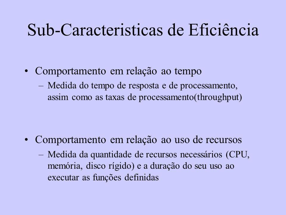 Sub-Caracteristicas de Eficiência Comportamento em relação ao tempo –Medida do tempo de resposta e de processamento, assim como as taxas de processame