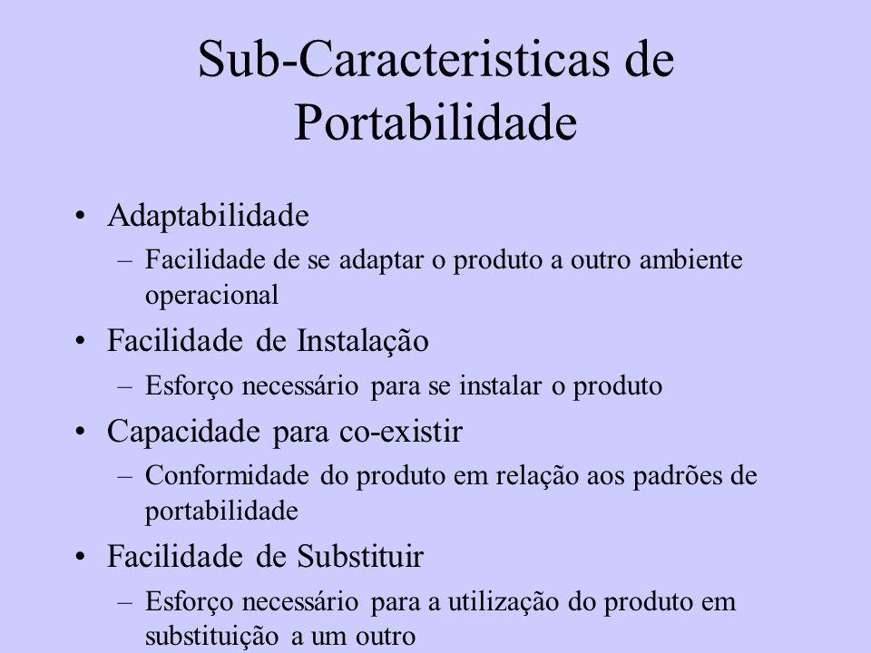 Sub-Caracteristicas de Portabilidade Adaptabilidade –Facilidade de se adaptar o produto a outro ambiente operacional Facilidade de Instalação –Esforço
