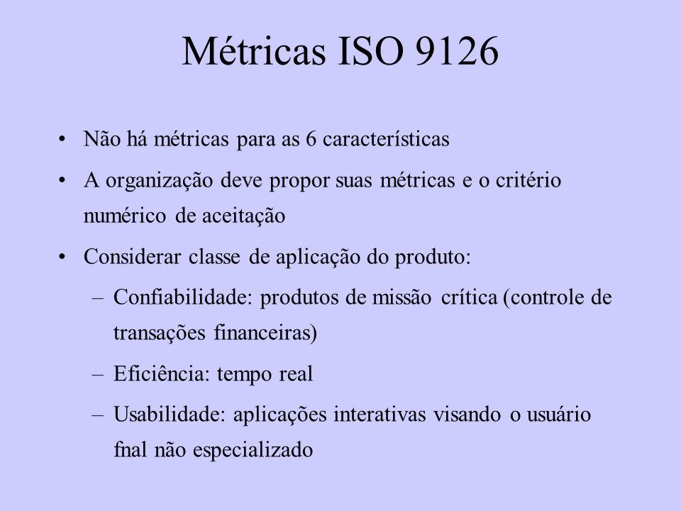Métricas ISO 9126 Não há métricas para as 6 características A organização deve propor suas métricas e o critério numérico de aceitação Considerar clas