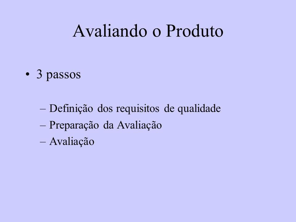Avaliando o Produto 3 passos –Definição dos requisitos de qualidade –Preparação da Avaliação –Avaliação