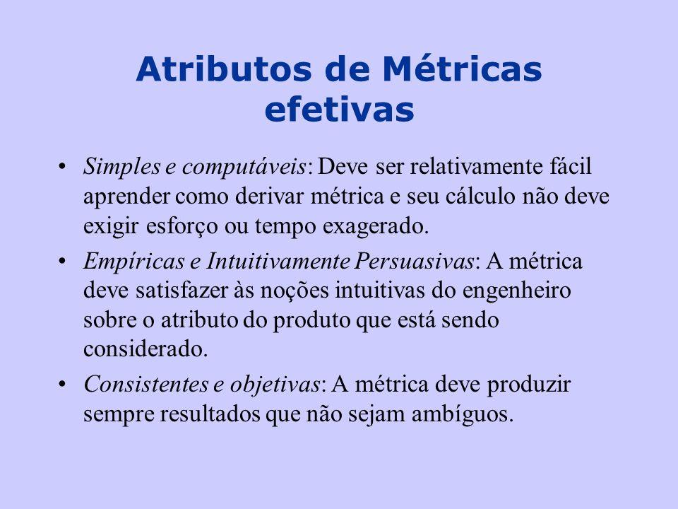 Atributos de Métricas efetivas Simples e computáveis: Deve ser relativamente fácil aprender como derivar métrica e seu cálculo não deve exigir esforço
