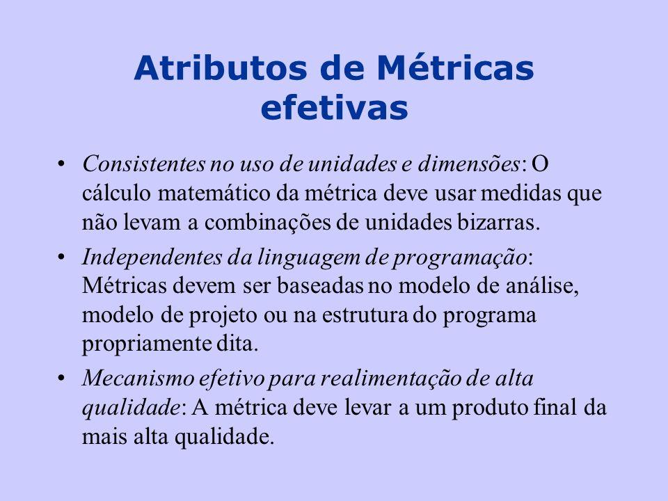 Consistentes no uso de unidades e dimensões: O cálculo matemático da métrica deve usar medidas que não levam a combinações de unidades bizarras. Indep