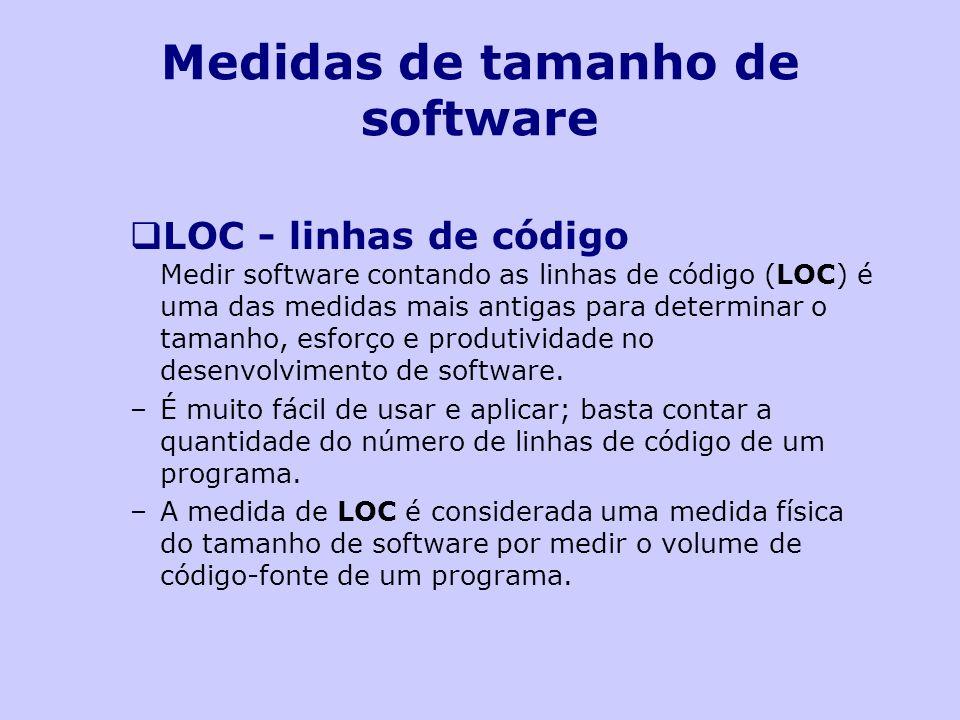 Medidas de tamanho de software LOC - linhas de código Medir software contando as linhas de código (LOC) é uma das medidas mais antigas para determinar