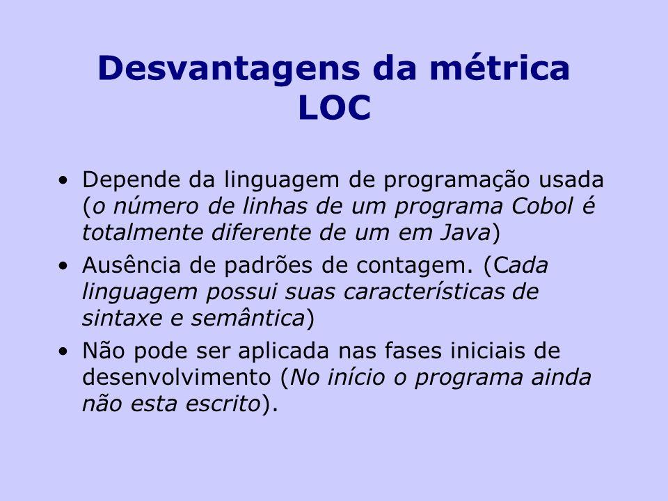 Desvantagens da métrica LOC Depende da linguagem de programação usada (o número de linhas de um programa Cobol é totalmente diferente de um em Java) A