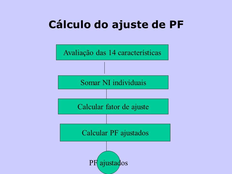 Cálculo do ajuste de PF Avaliação das 14 características Somar NI individuais Calcular fator de ajuste Calcular PF ajustados PF ajustados