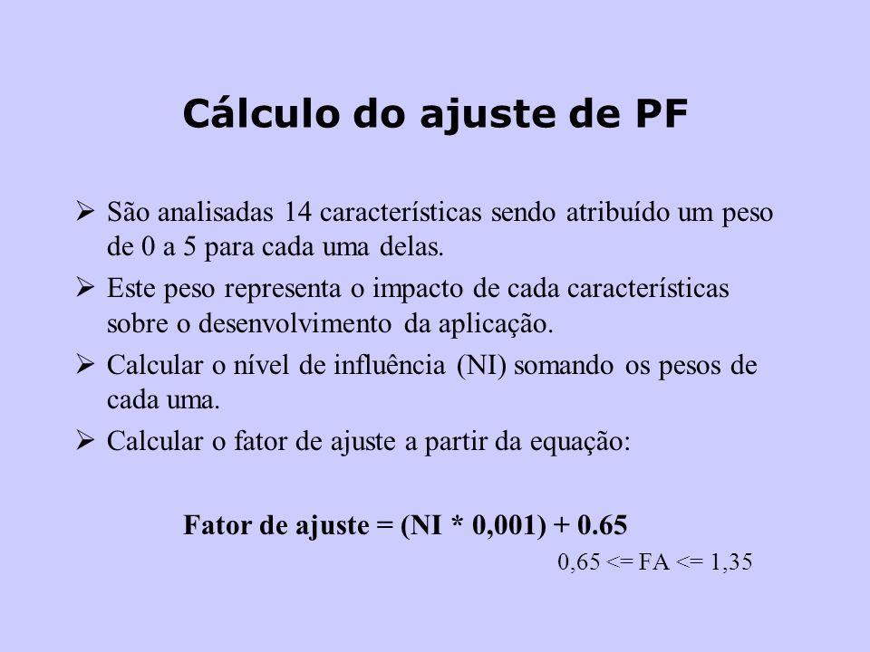 Cálculo do ajuste de PF São analisadas 14 características sendo atribuído um peso de 0 a 5 para cada uma delas. Este peso representa o impacto de cada