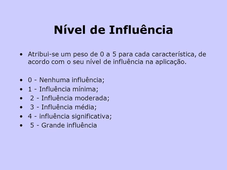 Nível de Influência Atribui-se um peso de 0 a 5 para cada característica, de acordo com o seu nível de influência na aplicação. 0 - Nenhuma influência