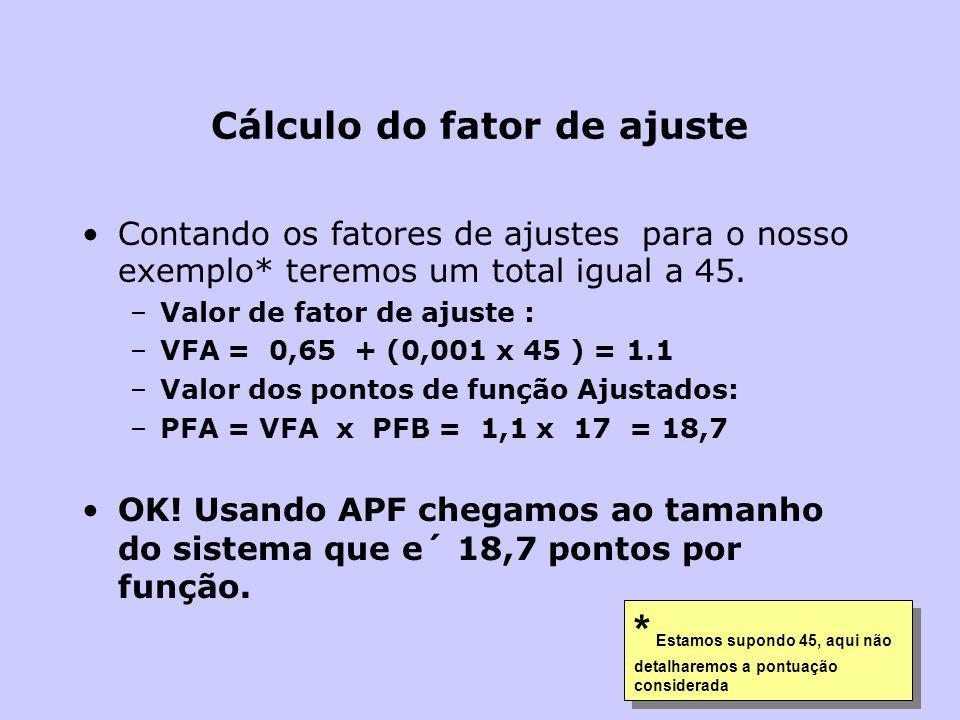 Cálculo do fator de ajuste Contando os fatores de ajustes para o nosso exemplo* teremos um total igual a 45. –Valor de fator de ajuste : –VFA = 0,65 +
