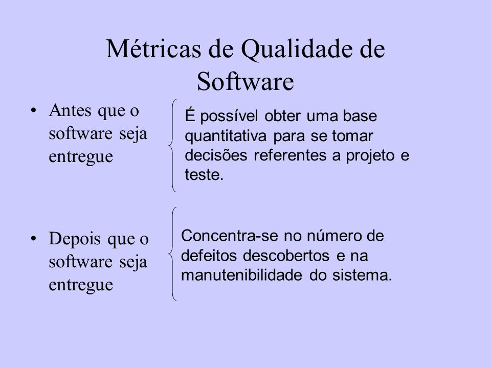 Métricas de Qualidade de Software Antes que o software seja entregue Depois que o software seja entregue É possível obter uma base quantitativa para s