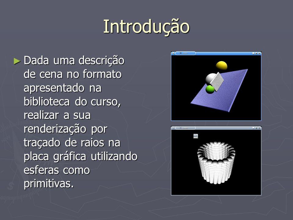 Introdução Dada uma descrição de cena no formato apresentado na biblioteca do curso, realizar a sua renderização por traçado de raios na placa gráfica utilizando esferas como primitivas.