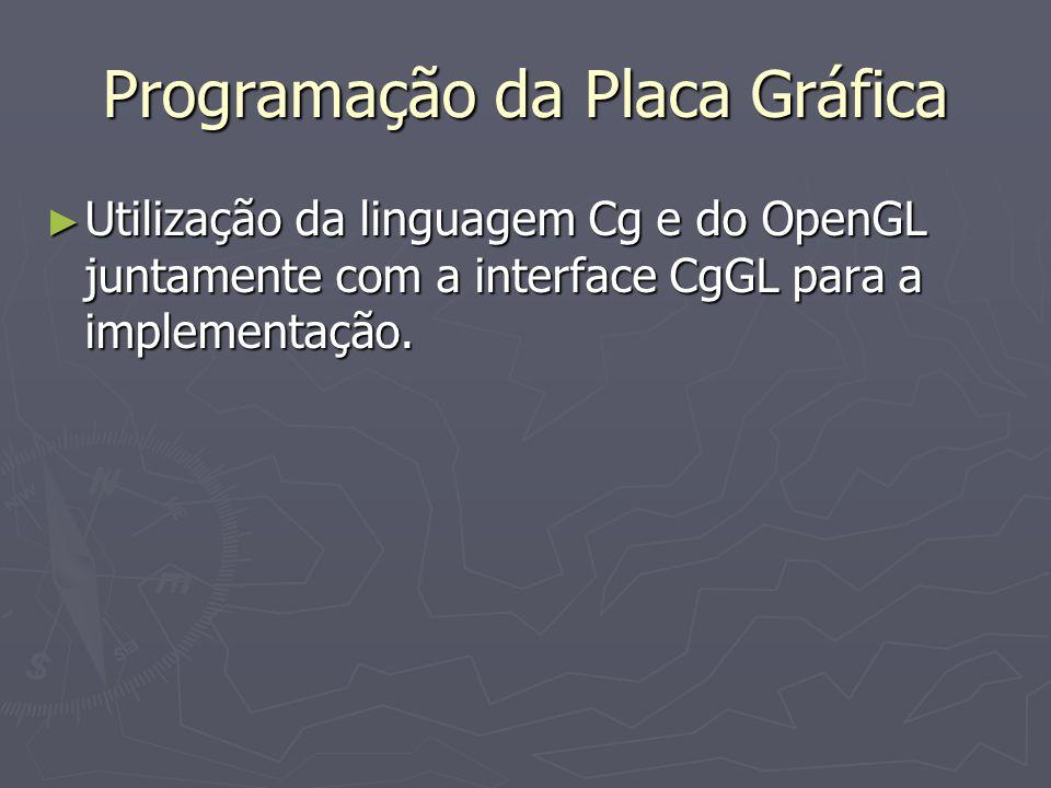Programação da Placa Gráfica Utilização da linguagem Cg e do OpenGL juntamente com a interface CgGL para a implementação.