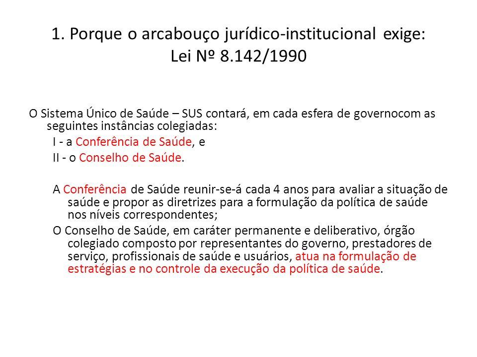 1. Porque o arcabouço jurídico-institucional exige: Lei Nº 8.142/1990 O Sistema Único de Saúde – SUS contará, em cada esfera de governocom as seguinte
