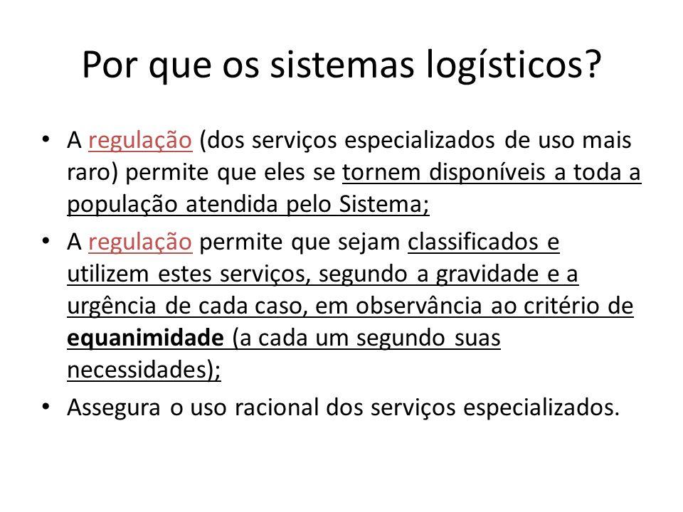Por que os sistemas logísticos? A regulação (dos serviços especializados de uso mais raro) permite que eles se tornem disponíveis a toda a população a