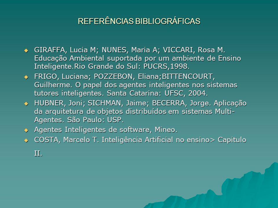 REFERÊNCIAS BIBLIOGRÁFICAS GIRAFFA, Lucia M; NUNES, Maria A; VICCARI, Rosa M.
